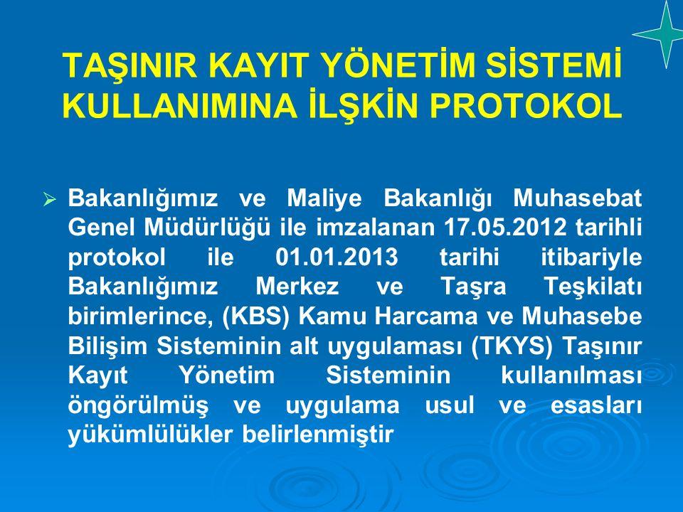 TAŞINIR KAYIT YÖNETİM SİSTEMİ KULLANIMINA İLŞKİN PROTOKOL   Bakanlığımız ve Maliye Bakanlığı Muhasebat Genel Müdürlüğü ile imzalanan 17.05.2012 tari