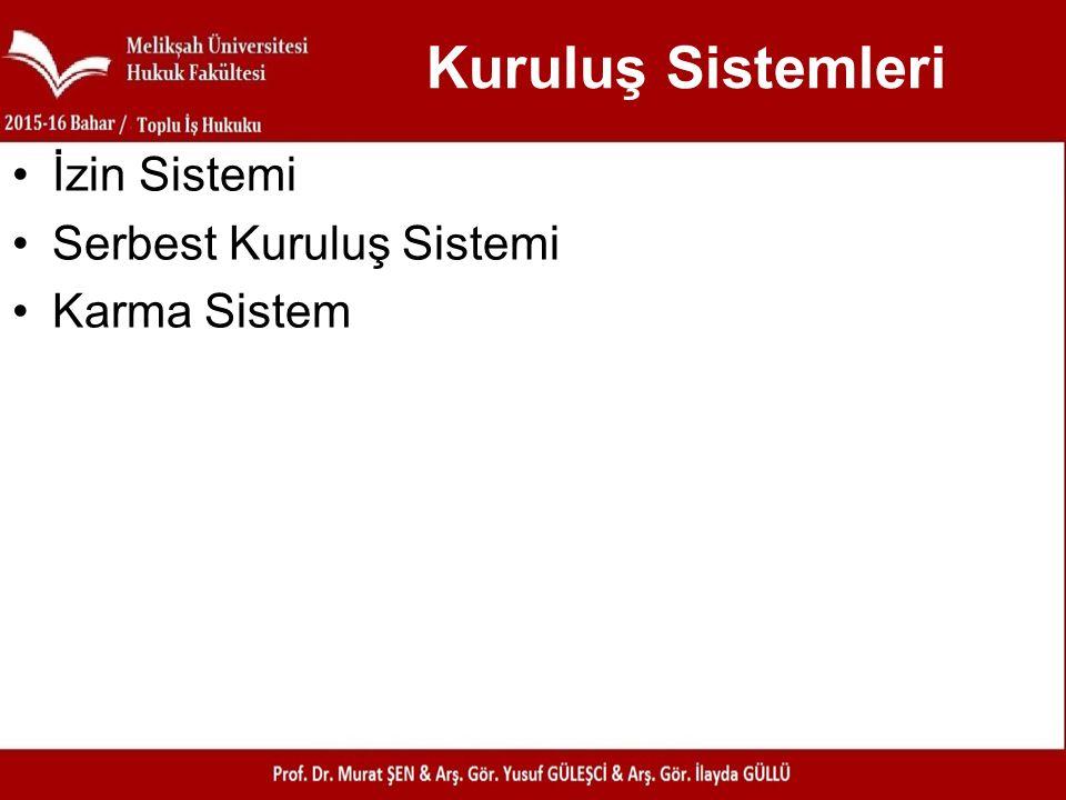 Kuruluş Sistemleri İzin Sistemi Serbest Kuruluş Sistemi Karma Sistem
