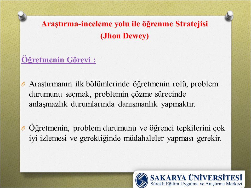 Araştırma-inceleme yolu ile öğrenme Stratejisi (Jhon Dewey) Öğretmenin Görevi ; O Araştırmanın ilk bölümlerinde öğretmenin rolü, problem durumunu seçm