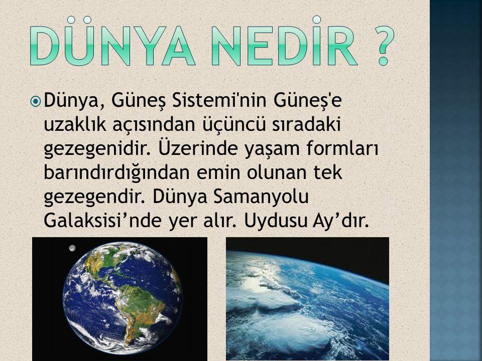 Dünya, Güneş Sistemi nin Güneş e uzaklık açısından üçüncü sıradaki gezegenidir.