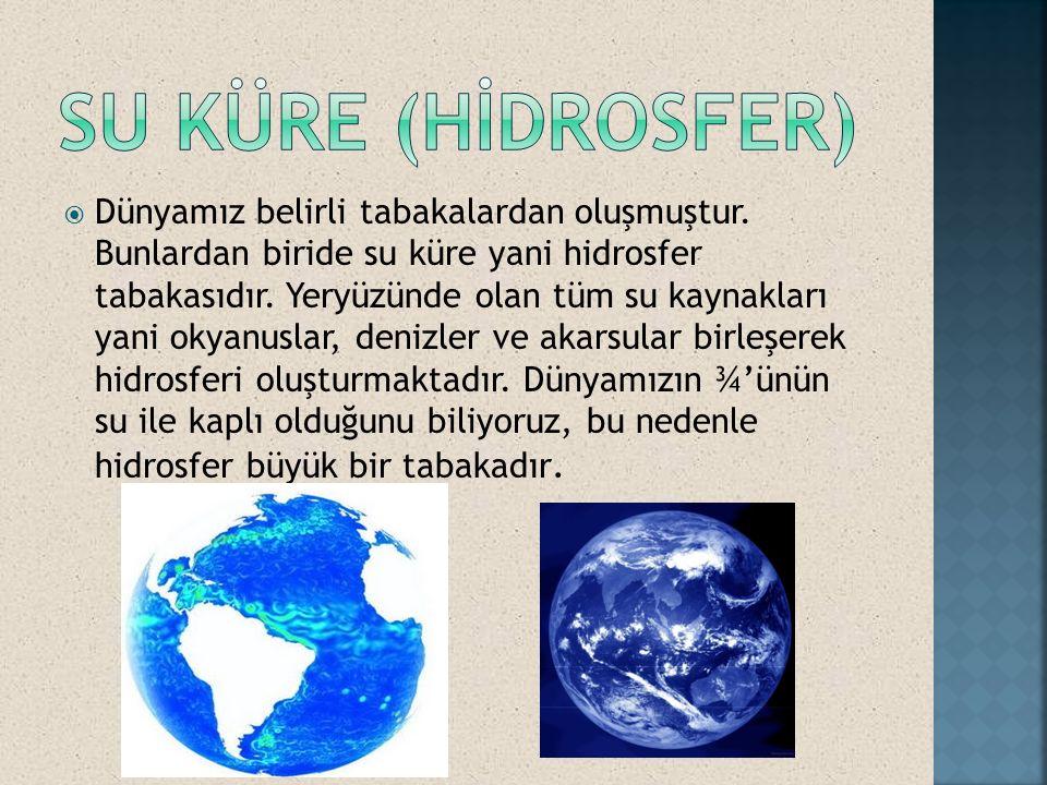  Dünyamız belirli tabakalardan oluşmuştur. Bunlardan biride su küre yani hidrosfer tabakasıdır. Yeryüzünde olan tüm su kaynakları yani okyanuslar, de