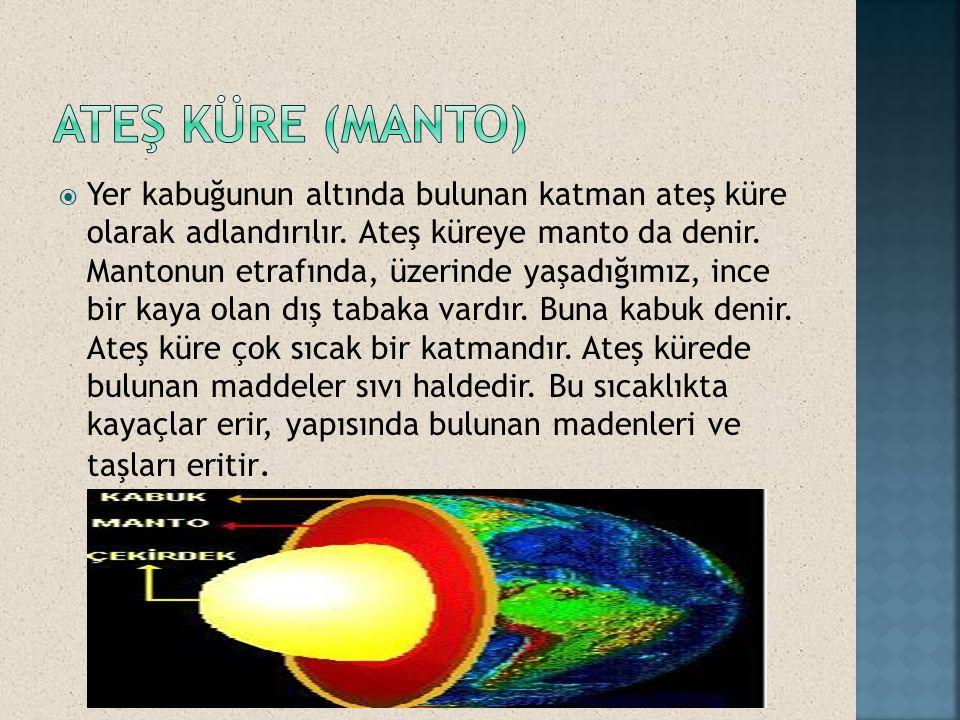  Yer kabuğunun altında bulunan katman ateş küre olarak adlandırılır. Ateş küreye manto da denir. Mantonun etrafında, üzerinde yaşadığımız, ince bir k