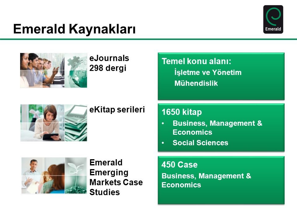 Emerald Kaynakları Emerald Emerging Markets Case Studies eKitap serileri eJournals 298 dergi 1650 kitap Business, Management & Economics Social Scienc