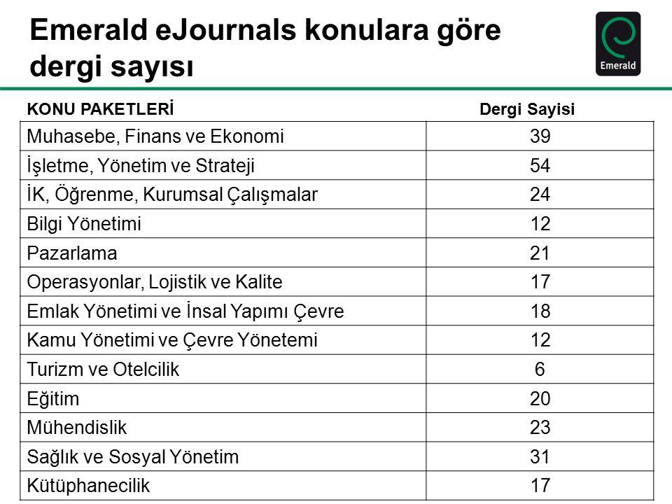 Emerald eJournals konulara göre dergi sayısı KONU PAKETLERİ Dergi Sayisi Muhasebe, Finans ve Ekonomi39 İşletme, Yönetim ve Strateji54 İK, Öğrenme, Kur