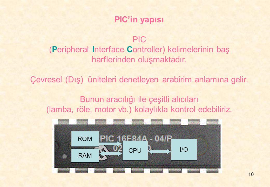 10 PIC'in yapısı PIC (Peripheral Interface Controller) kelimelerinin baş harflerinden oluşmaktadır. Çevresel (Dış) üniteleri denetleyen arabirim anlam