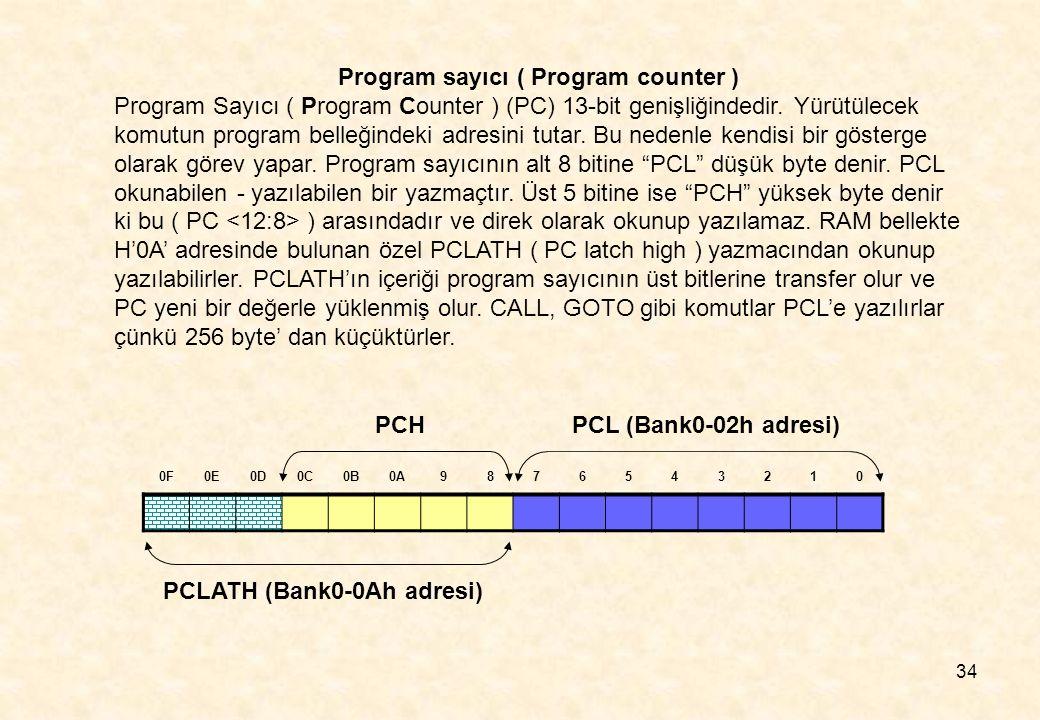 34 Program sayıcı ( Program counter ) Program Sayıcı ( Program Counter ) (PC) 13-bit genişliğindedir. Yürütülecek komutun program belleğindeki adresin