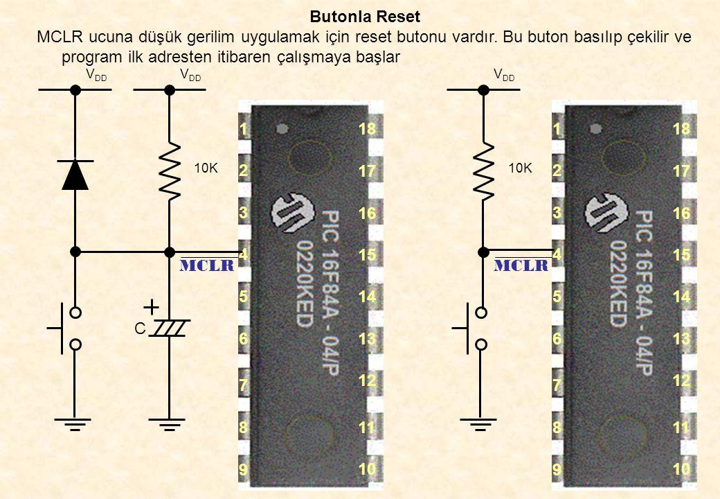 41 Butonla Reset MCLR ucuna düşük gerilim uygulamak için reset butonu vardır. Bu buton basılıp çekilir ve program ilk adresten itibaren çalışmaya başl