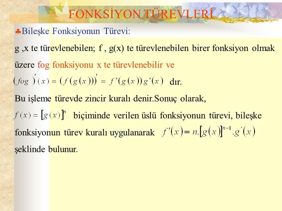FONKSİYON TÜREVLERİ  Bileşke Fonksiyonun Türevi: g,x te türevlenebilen; f, g(x) te türevlenebilen birer fonksiyon olmak üzere fog fonksiyonu x te türevlenebilir ve dır.