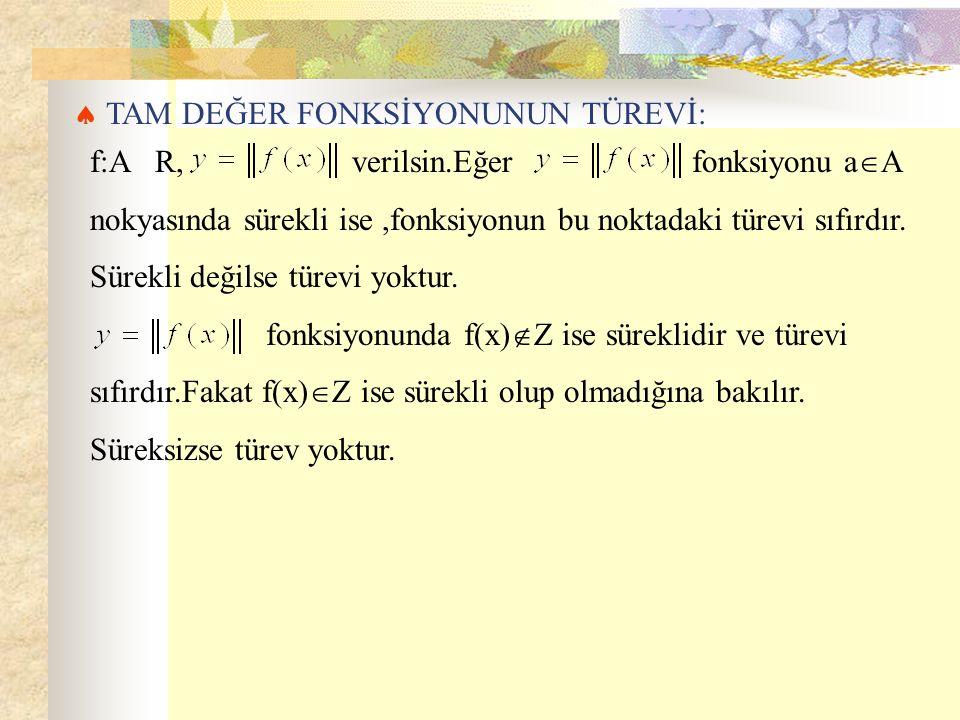  TAM DEĞER FONKSİYONUNUN TÜREVİ: f:A R, verilsin.Eğer fonksiyonu a  A nokyasında sürekli ise,fonksiyonun bu noktadaki türevi sıfırdır.