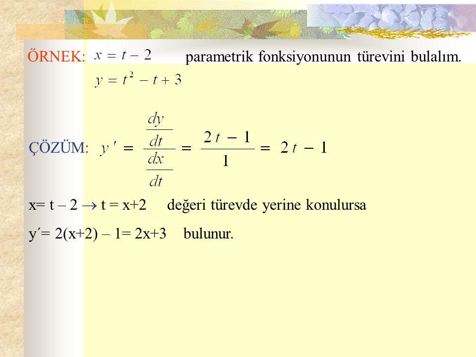 ÖRNEK: parametrik fonksiyonunun türevini bulalım. ÇÖZÜM: x= t – 2  t = x+2 değeri türevde yerine konulursa y´= 2(x+2) – 1= 2x+3 bulunur.