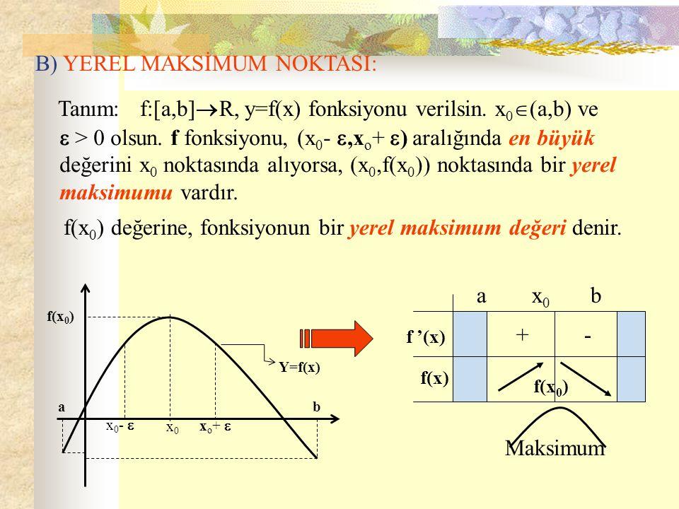 B) YEREL MAKSİMUM NOKTASI: Tanım: f:[a,b]  R, y=f(x) fonksiyonu verilsin. x 0  (a,b) ve  > 0 olsun. f fonksiyonu, (x 0 - ,x o + ) ) aralığında e