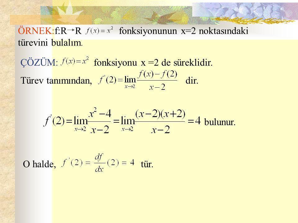 ÖRNEK:f:R R fonksiyonunun x=2 noktasındaki türevini bulalım. bulunur. ÇÖZÜM: fonksiyonu x =2 de süreklidir. Türev tanımından, dir. O halde, tür.