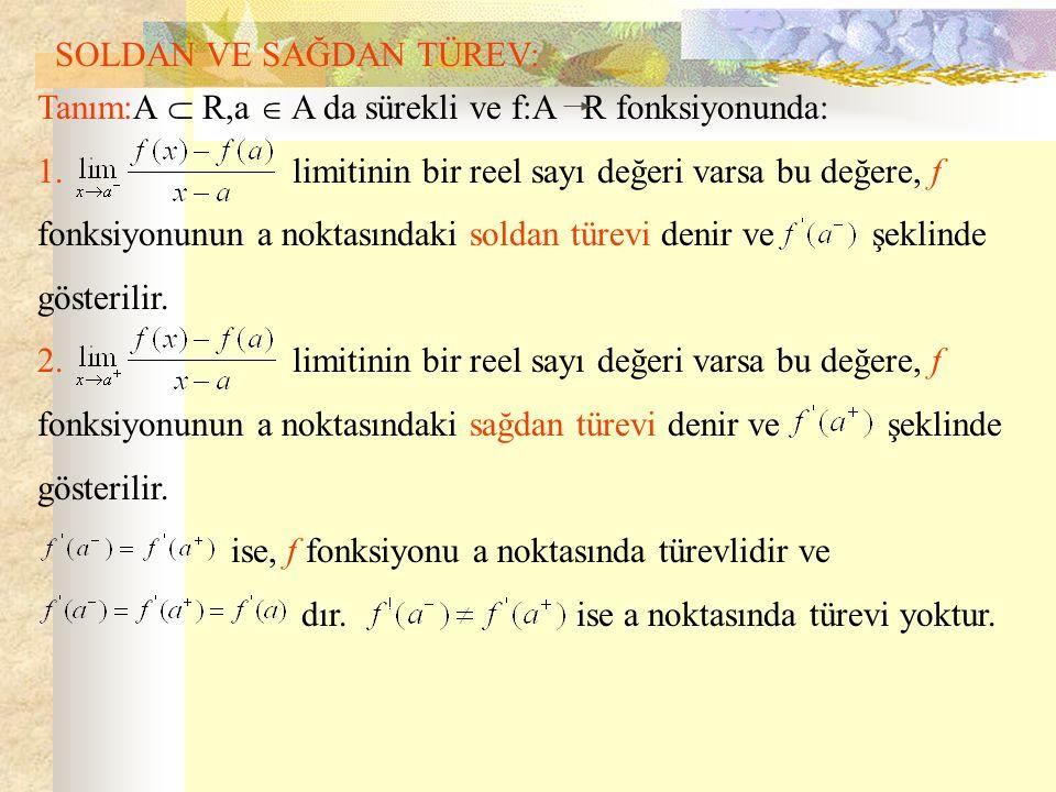 SOLDAN VE SAĞDAN TÜREV: Tanım:A  R,a  A da sürekli ve f:A R fonksiyonunda: 1. limitinin bir reel sayı değeri varsa bu değere, f fonksiyonunun a nokt
