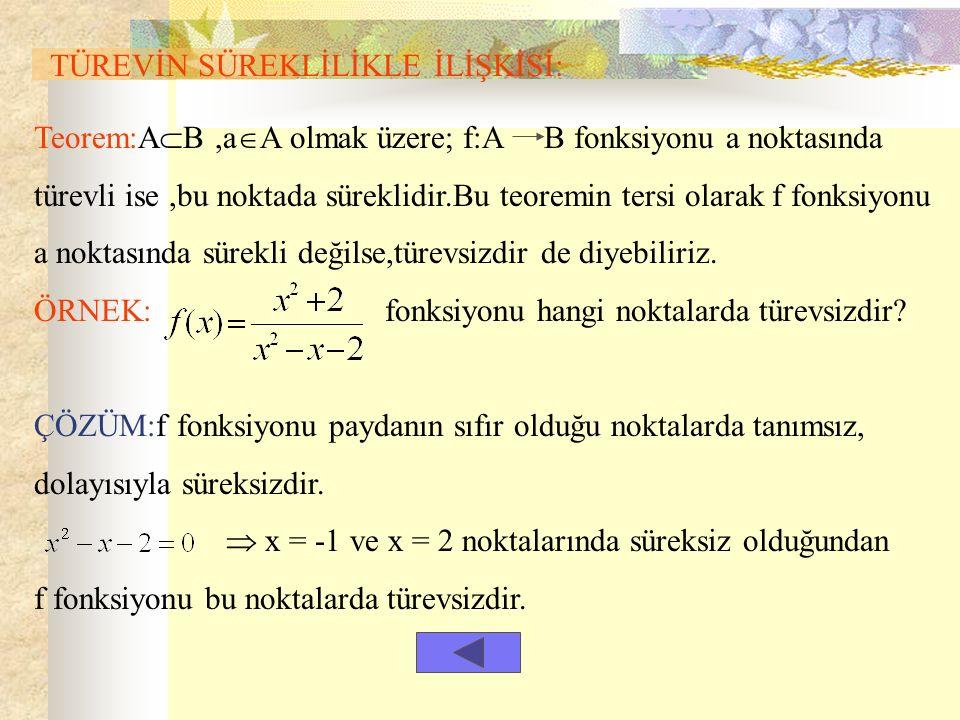 TÜREVİN SÜREKLİLİKLE İLİŞKİSİ: Teorem:A  B,a  A olmak üzere; f:A B fonksiyonu a noktasında türevli ise,bu noktada süreklidir.Bu teoremin tersi olarak f fonksiyonu a noktasında sürekli değilse,türevsizdir de diyebiliriz.