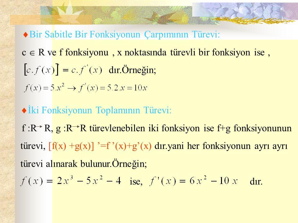  Bir Sabitle Bir Fonksiyonun Çarpımının Türevi: c  R ve f fonksiyonu, x noktasında türevli bir fonksiyon ise, dır.Örneğin;  İki Fonksiyonun Toplamının Türevi: f :R R, g :R R türevlenebilen iki fonksiyon ise f+g fonksiyonunun türevi, [f(x) +g(x)] '=f '(x)+g'(x) dır.yani her fonksiyonun ayrı ayrı türevi alınarak bulunur.Örneğin; ise, dır.