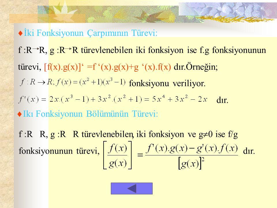  İki Fonksiyonun Çarpımının Türevi: f :R R, g :R R türevlenebilen iki fonksiyon ise f.g fonksiyonunun türevi, [f(x).g(x)]' =f '(x).g(x)+g '(x).f(x) dır.Örneğin; fonksiyonu veriliyor.