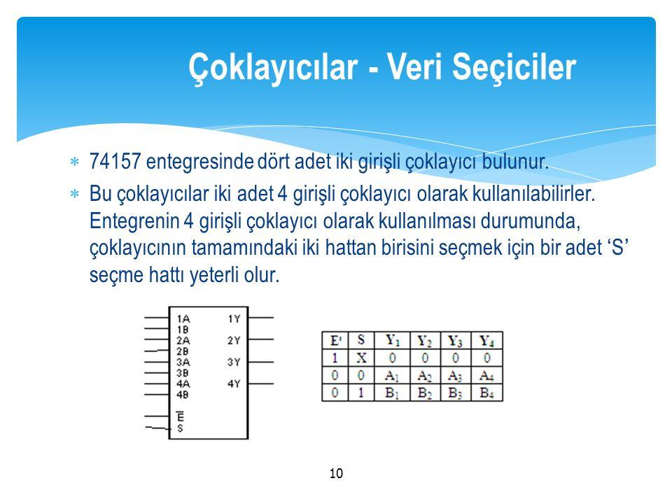 74157 entegresinde dört adet iki girişli çoklayıcı bulunur.  Bu çoklayıcılar iki adet 4 girişli çoklayıcı olarak kullanılabilirler. Entegrenin 4 gi