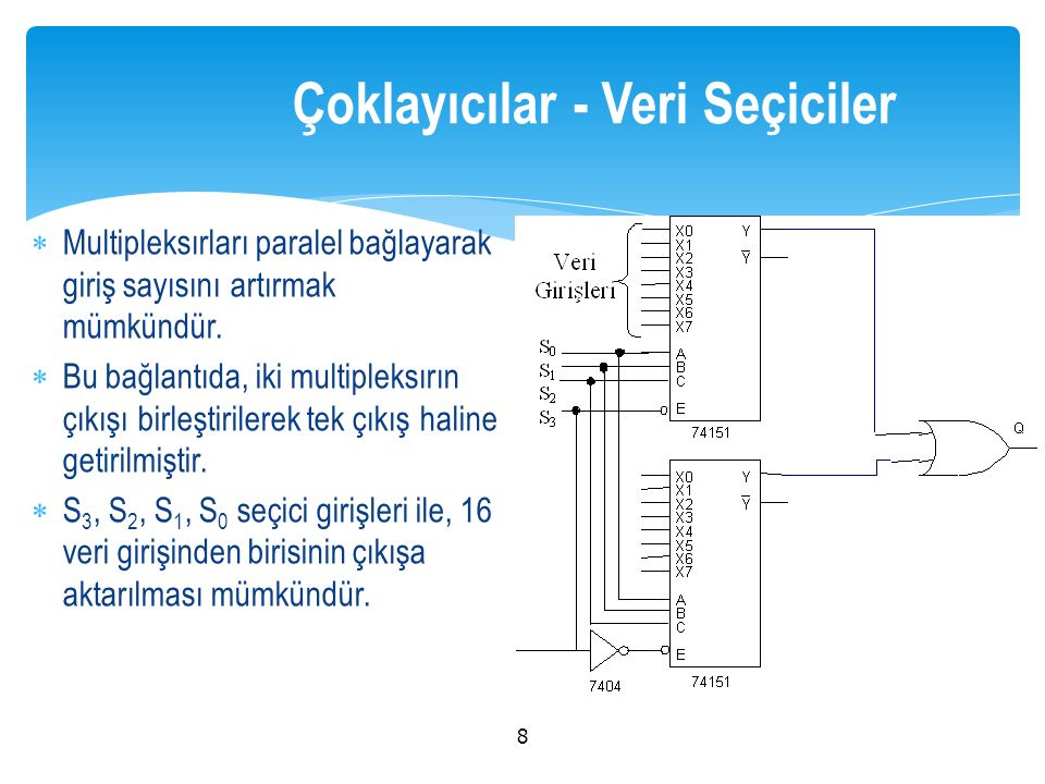  Multipleksırları paralel bağlayarak giriş sayısını artırmak mümkündür.  Bu bağlantıda, iki multipleksırın çıkışı birleştirilerek tek çıkış haline g