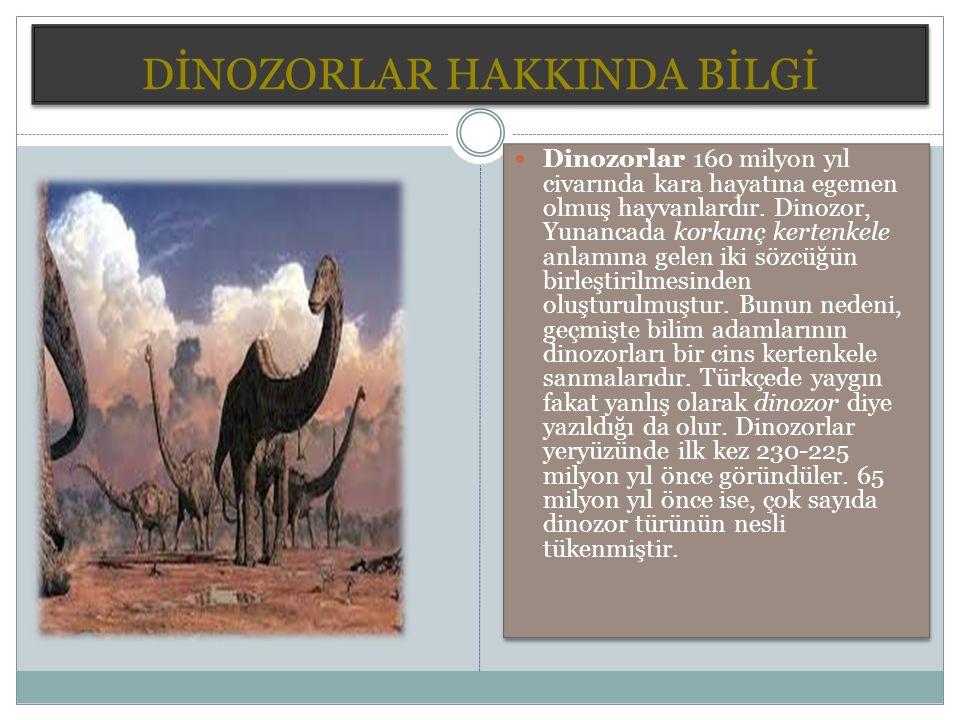 DİNOZORLAR HAKKINDA BİLGİ Dinozorlar 160 milyon yıl civarında kara hayatına egemen olmuş hayvanlardır.