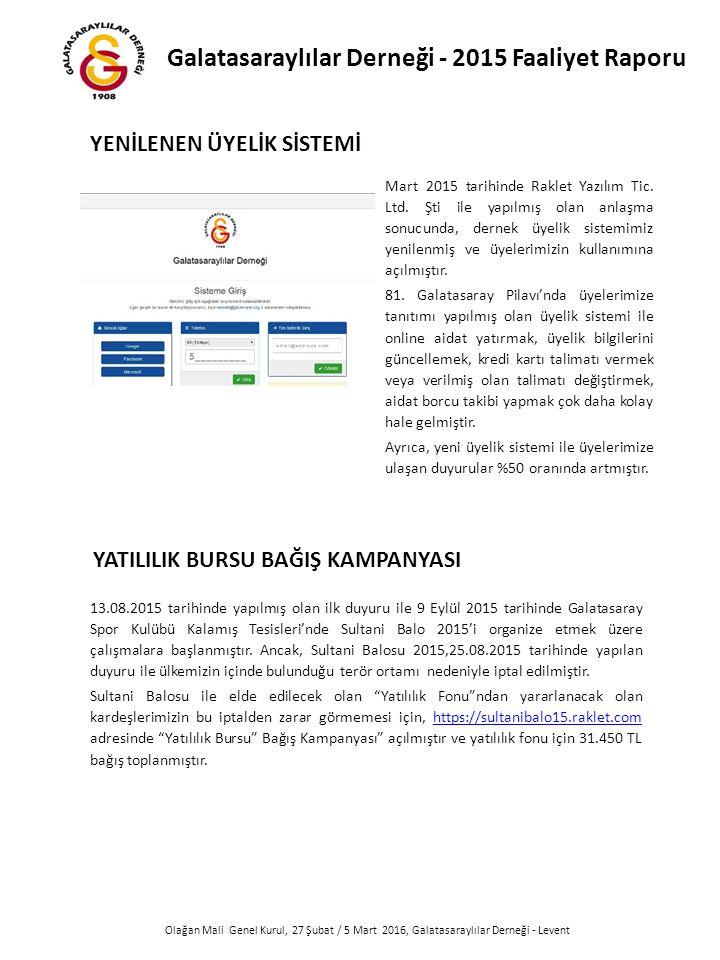 Olağan Mali Genel Kurul, 27 Şubat / 5 Mart 2016, Galatasaraylılar Derneği - Levent Mart 2015 tarihinde Raklet Yazılım Tic.