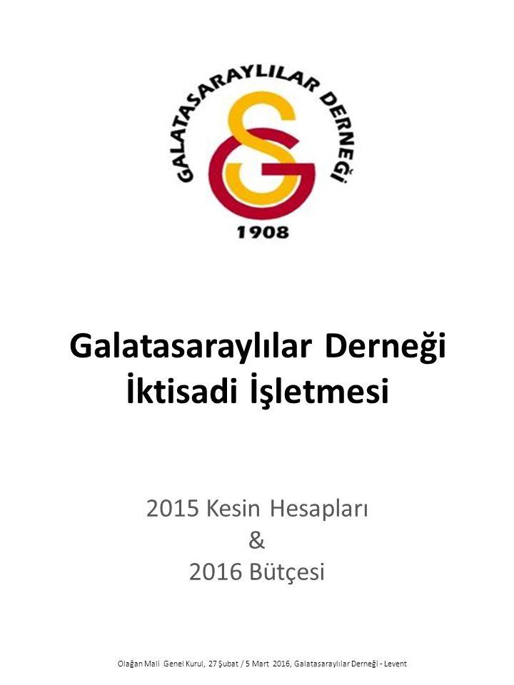 Galatasaraylılar Derneği İktisadi İşletmesi 2015 Kesin Hesapları & 2016 Bütçesi