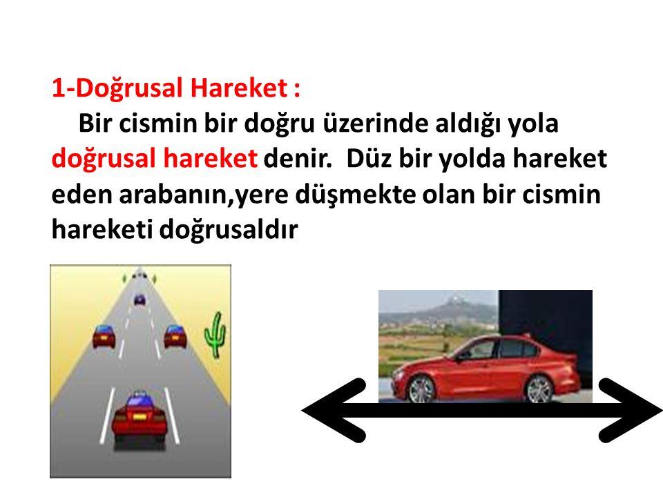 1-Doğrusal Hareket : Bir cismin bir doğru üzerinde aldığı yola doğrusal hareket denir. Düz bir yolda hareket eden arabanın,yere düşmekte olan bir cism