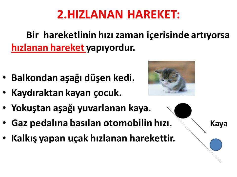 2.HIZLANAN HAREKET: Bir hareketlinin hızı zaman içerisinde artıyorsa hızlanan hareket yapıyordur. Balkondan aşağı düşen kedi. Kaydıraktan kayan çocuk.