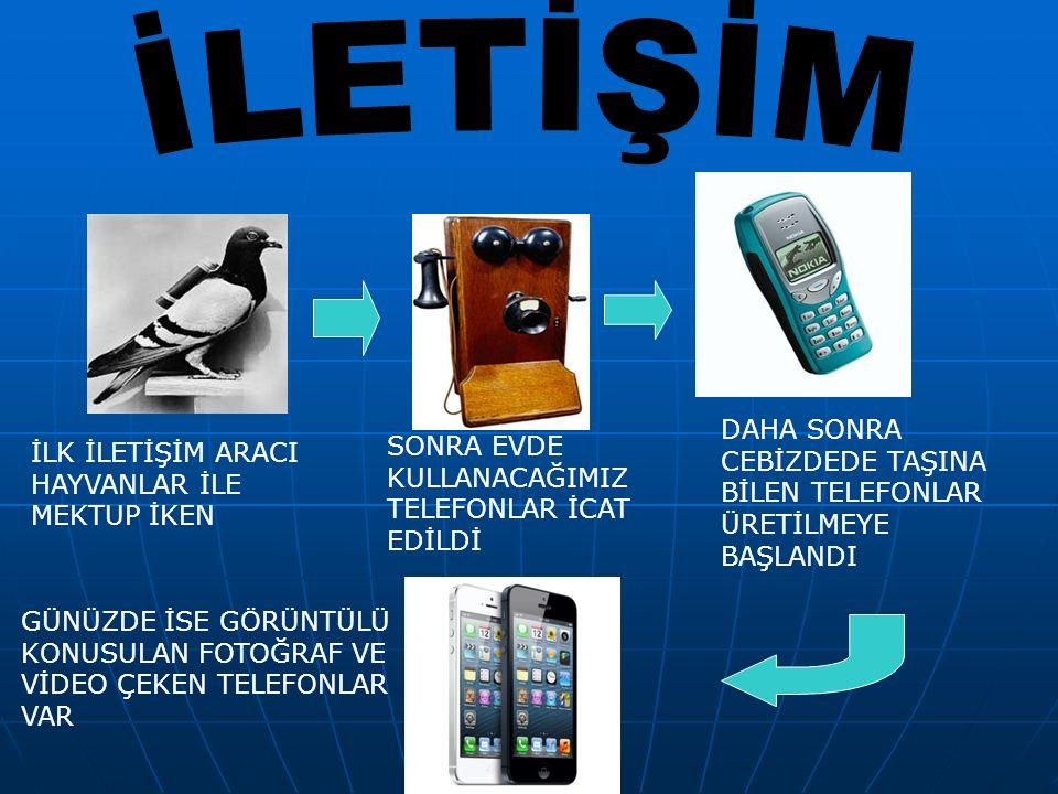 İLK İLETİŞİM ARACI HAYVANLAR İLE MEKTUP İKEN SONRA EVDE KULLANACAĞIMIZ TELEFONLAR İCAT EDİLDİ DAHA SONRA CEBİZDEDE TAŞINA BİLEN TELEFONLAR ÜRETİLMEYE