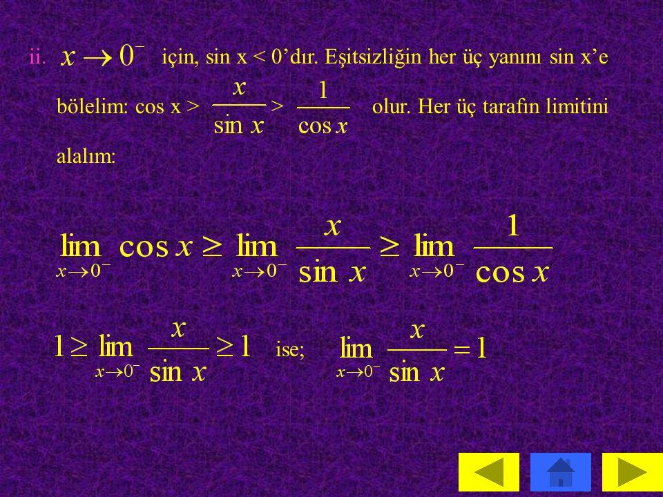i.için sin x > 0'dır.Eşitsizliğinin her üç yanını sin x ile bölelim: cos x > > olur.