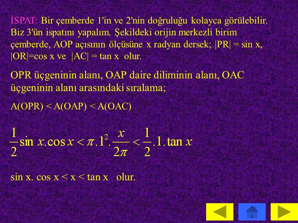 TRİGONOMETRİK FONKSİYONLARIN LİMİTİ Teorem: a  R olmak üzere: 1.