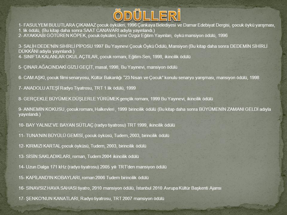 1- FASULYEM BULUTLARA ÇIKAMAZ çocuk öyküleri, 1996 Çankaya Belediyesi ve Damar Edebiyat Dergisi, çocuk öykü yarışması, 1.