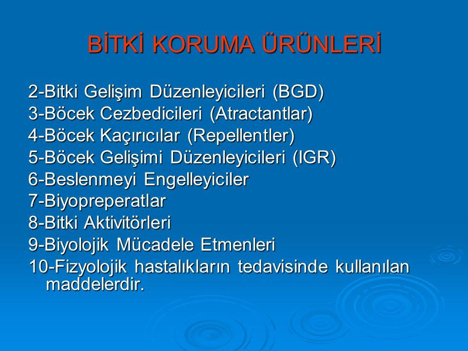 Dünyada ve Türkiye'de Bitki Koruma Ürünü Kullanımı Dünya Türkiye % 47 Herbisit% 47 İnsektisit % 29 İnsektisit% 24 Herbisit % 19 Fungisit% 16 Fungisit % 5 Diğer% 13 Diğer 3.000.000 ton 50.000 ton