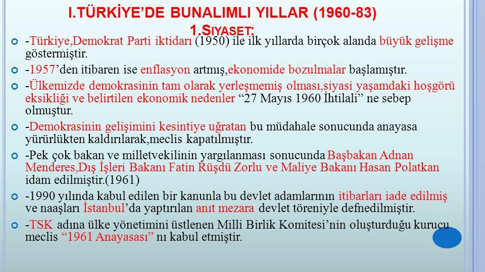1.S IYASET : -1961 seçimlerinden sonra meclis tarafından Cemal Gürsel Cumhurbaşkanı seçilmiş ve 1965'e kadar koalisyon hükümetleri iktidarda kalmıştır.