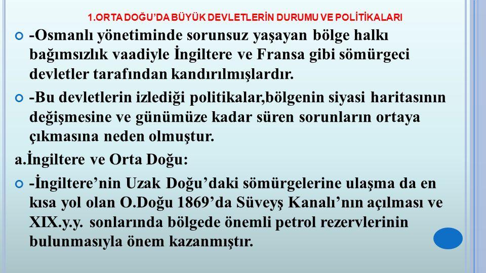 1.ORTA DOĞU'DA BÜYÜK DEVLETLERİN DURUMU VE POLİTİKALARI -Almanya'nın Osmanlı ile işbirliği yaparak, Hicaz Demiryolları Projesi ile bölgede üstünlük sağlaması İngilizlerin çıkarlarına ters düşmüştür.