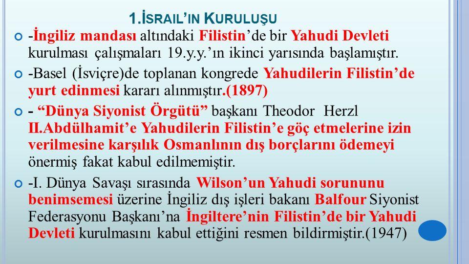 1.İ SRAIL ' IN K URULUŞU - Balfour Deklarasyonu adı verilen bu belge Yahudi Devleti kurulması konusunda bir dönüm noktası olmuş ve Yahudiler büyük kitleler halinde Filistin'e göç etmeye başlamışlardır.