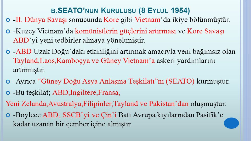 B.SEATO' NUN K URULUŞU (8 E YLÜL 1954) -II.