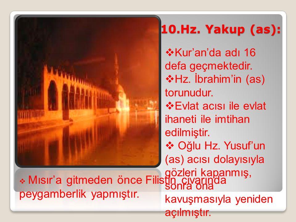 10.Hz. Yakup (as):  Kur'an'da adı 16 defa geçmektedir.  Hz. İbrahim'in (as) torunudur.  Evlat acısı ile evlat ihaneti ile imtihan edilmiştir.  Oğl