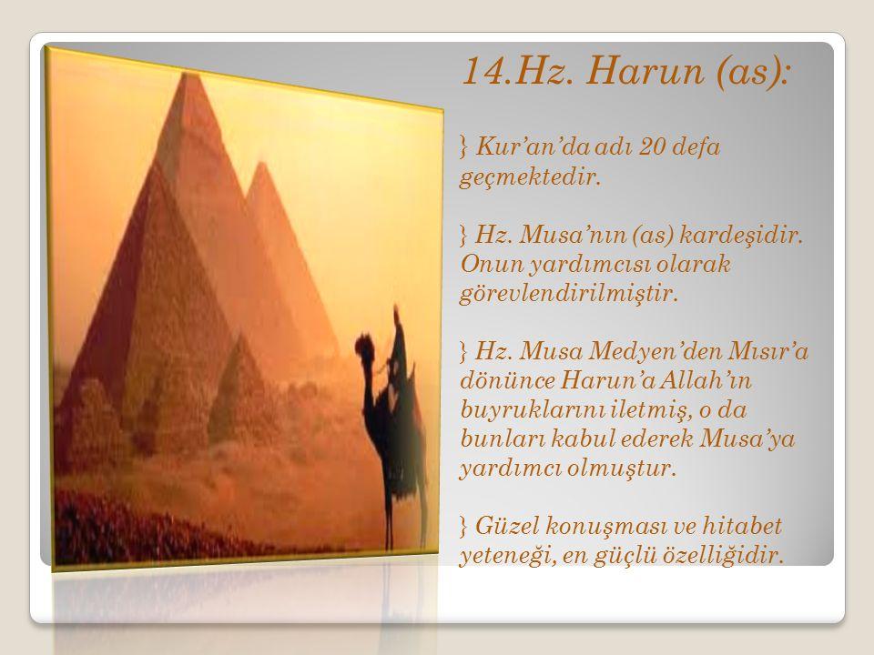 14.Hz. Harun (as): } Kur'an'da adı 20 defa geçmektedir. } Hz. Musa'nın (as) kardeşidir. Onun yardımcısı olarak görevlendirilmiştir. } Hz. Musa Medyen'