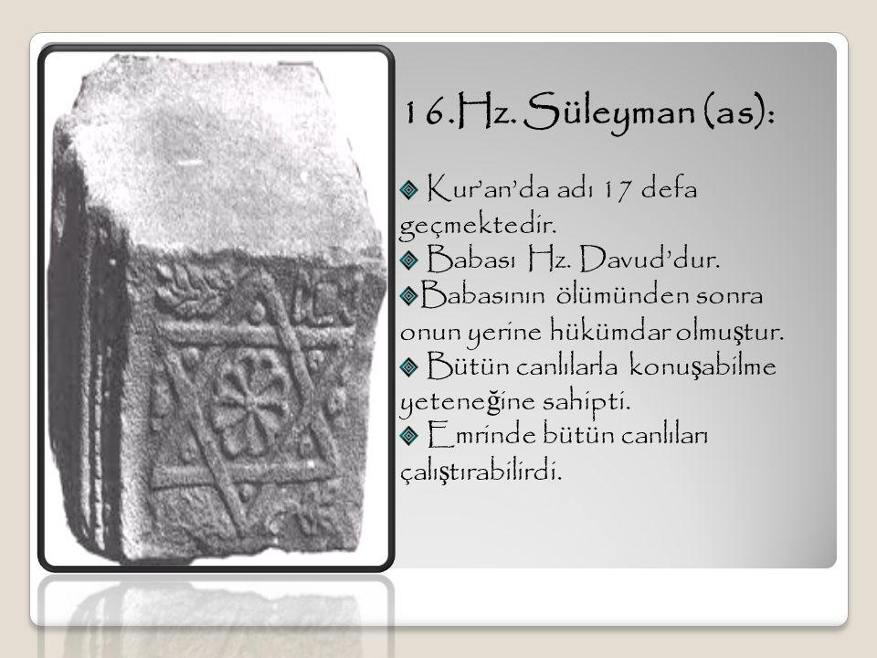 16.Hz. Süleyman (as): Kur'an'da adı 17 defa geçmektedir. Babası Hz. Davud'dur. Babasının ölümünden sonra onun yerine hükümdar olmu ş tur. Bütün canlıl
