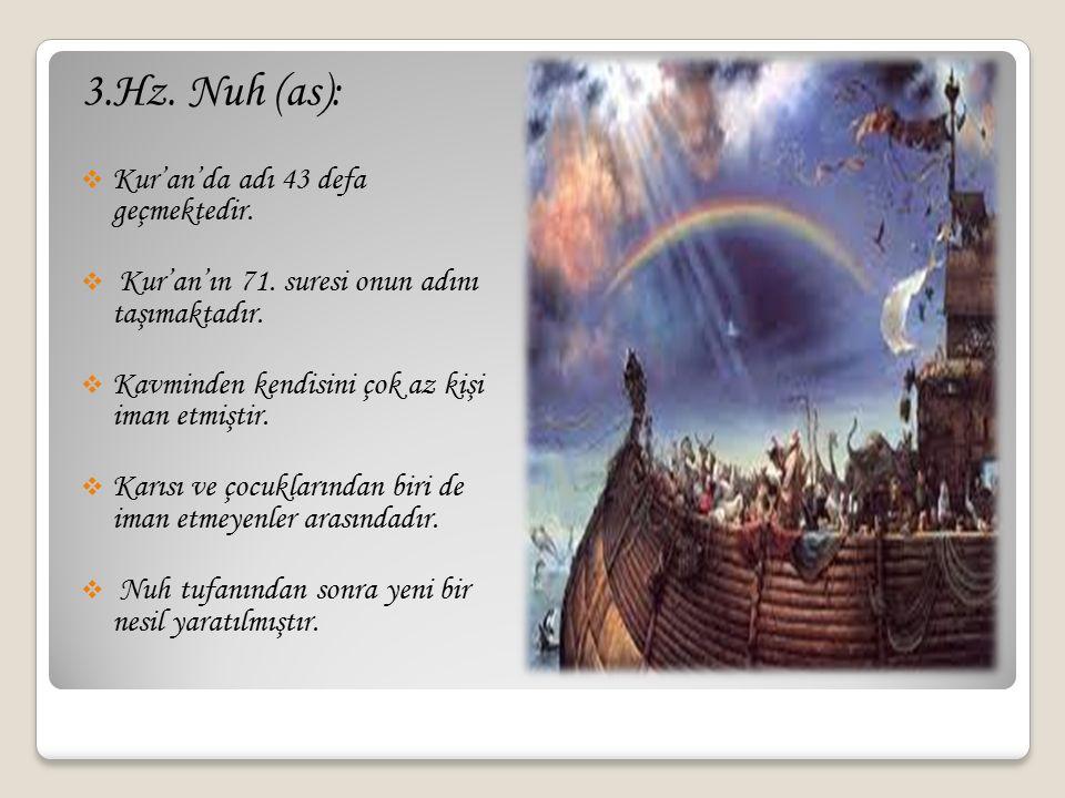 3.Hz. Nuh (as):  Kur'an'da adı 43 defa geçmektedir.  Kur'an'ın 71. suresi onun adını taşımaktadır.  Kavminden kendisini çok az kişi iman etmiştir.