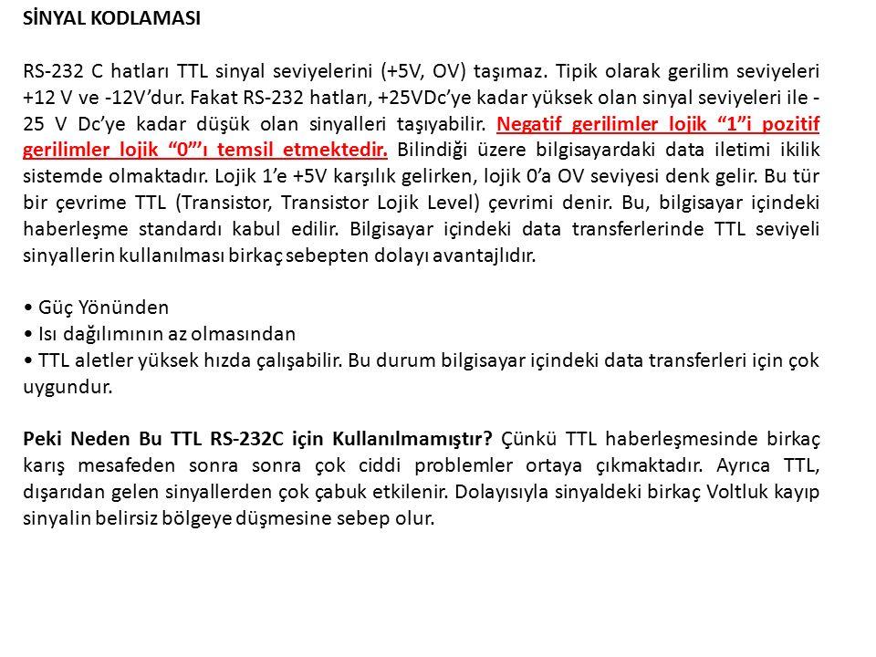 SİNYAL KODLAMASI RS-232 C hatları TTL sinyal seviyelerini (+5V, OV) taşımaz.