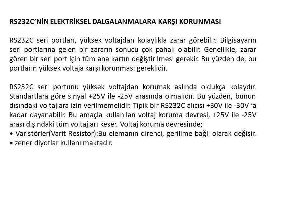 RS232C'NİN ELEKTRİKSEL DALGALANMALARA KARŞI KORUNMASI RS232C seri portları, yüksek voltajdan kolaylıkla zarar görebilir.
