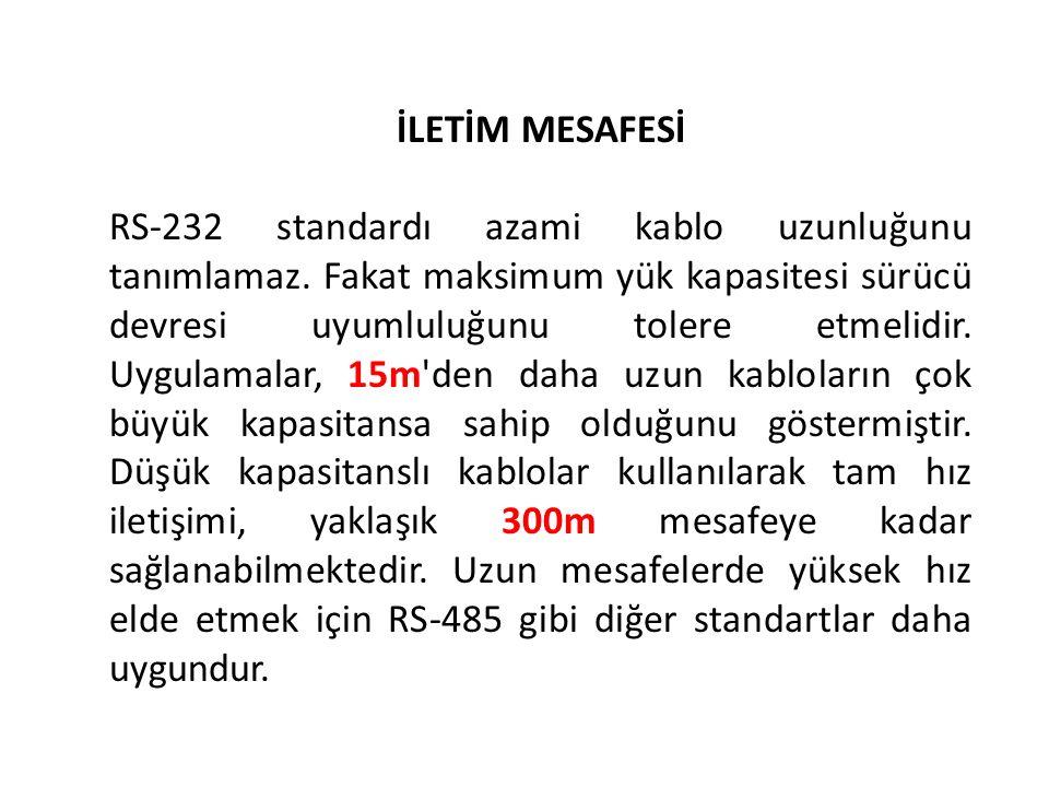 İLETİM MESAFESİ RS-232 standardı azami kablo uzunluğunu tanımlamaz.