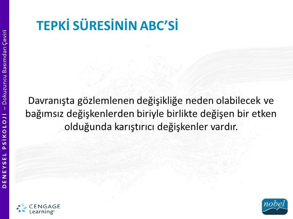 TEPKİ SÜRESİNİN ABC'Sİ Bağımlı değişkenler dikkatlice seçilmelidir.