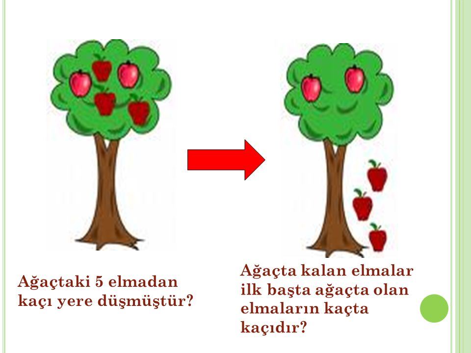 Ağaçtaki 5 elmadan kaçı yere düşmüştür? Ağaçta kalan elmalar ilk başta ağaçta olan elmaların kaçta kaçıdır?