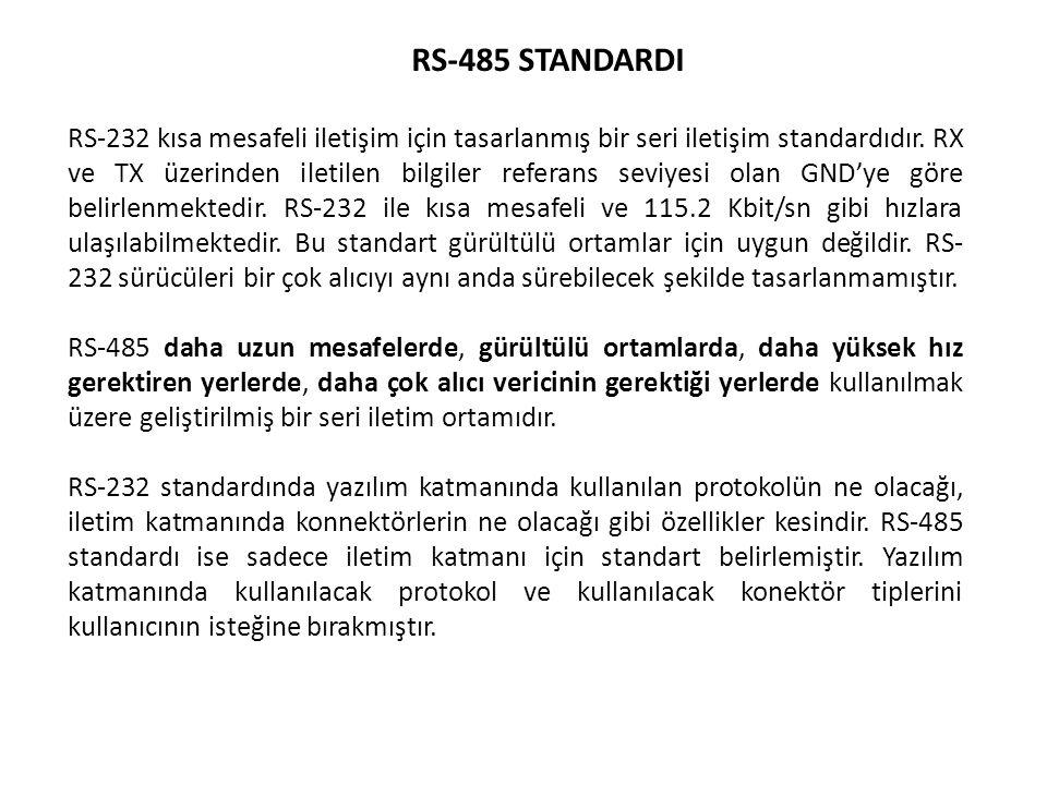 RS-485 STANDARDI RS-232 kısa mesafeli iletişim için tasarlanmış bir seri iletişim standardıdır. RX ve TX üzerinden iletilen bilgiler referans seviyesi