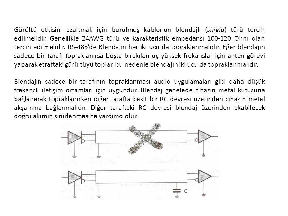 Gürültü etkisini azaltmak için burulmuş kablonun blendajlı (shield) türü tercih edilmelidir. Genellikle 24AWG türü ve karakteristik empedansı 100-120