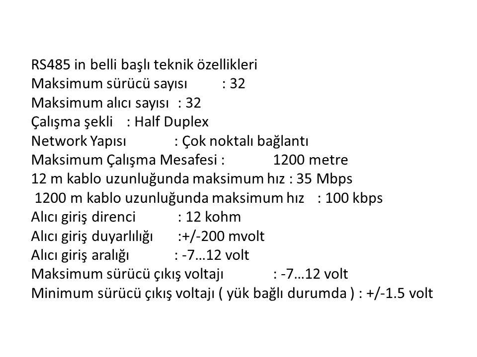 RS485 in belli başlı teknik özellikleri Maksimum sürücü sayısı : 32 Maksimum alıcı sayısı : 32 Çalışma şekli : Half Duplex Network Yapısı : Çok noktal