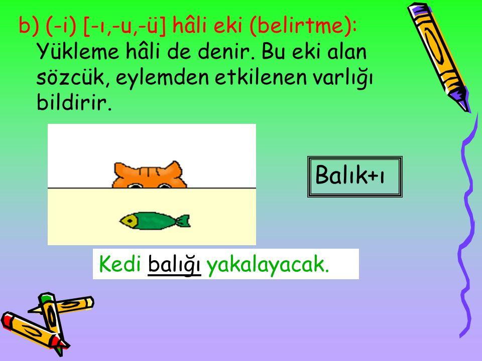 2. HÂL EKLERİ: İsimlerin kendi dışındaki kelimelerle ilgisini ifade eden eklerdir. a)Yalın hâl: İsmin ek almamış biçimidir. balık Masanın üstünde balı