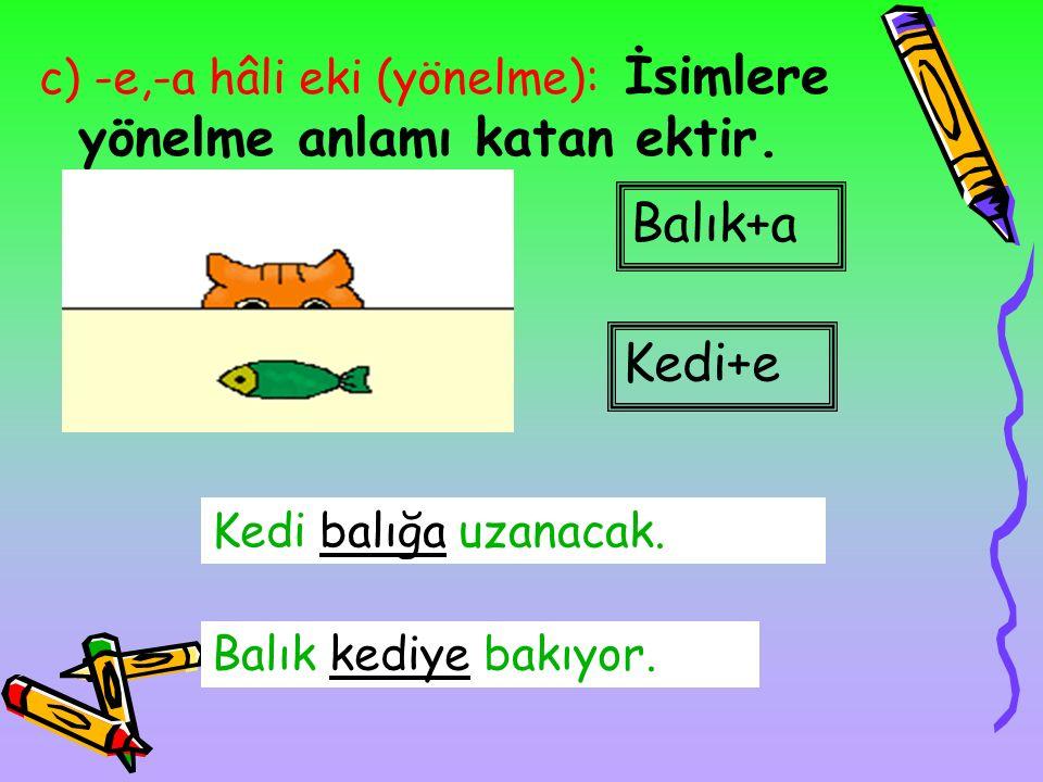 b) (-i) [-ı,-u,-ü] hâli eki (belirtme): Yükleme hâli de denir. Bu eki alan sözcük, eylemden etkilenen varlığı bildirir. Balık+ı Kedi balığı yakalayaca